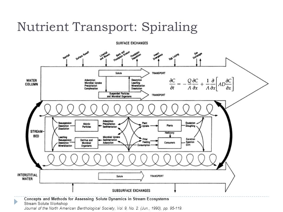 Nutrient Transport: Spiraling Concepts and Methods for Assessing Solute Dynamics in Stream Ecosystems Stream Solute Workshop Journal of the North American Benthological Society, Vol.