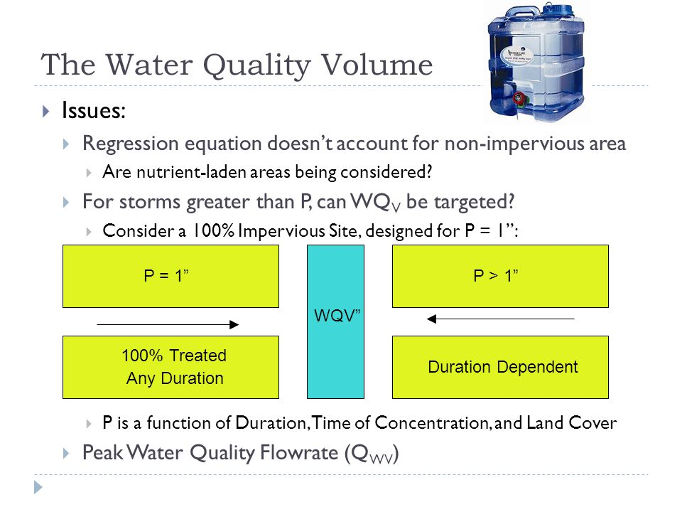 The Water Quality Volume  Issues:  Regression equation doesn't account for non-impervious area  Are nutrient-laden areas being considered.