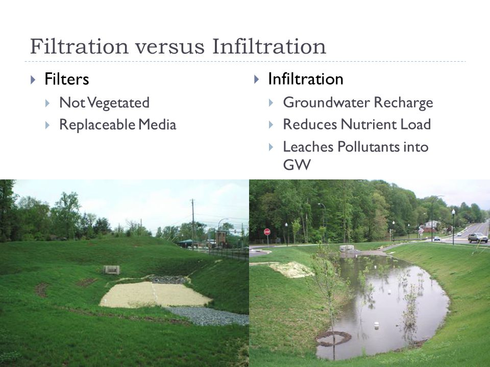 Filtration versus Infiltration  Filters  Not Vegetated  Replaceable Media  Infiltration  Groundwater Recharge  Reduces Nutrient Load  Leaches Pollutants into GW