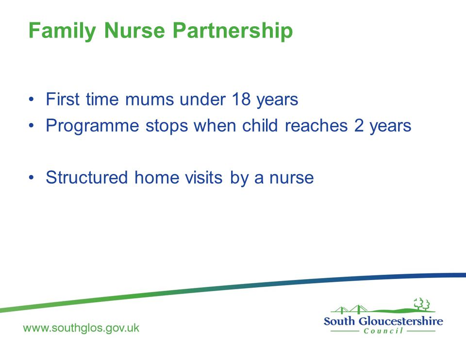 Family Nurse Partnership First time mums under 18 years Programme stops when child reaches 2 years Structured home visits by a nurse