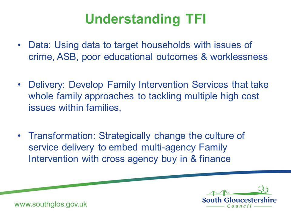 Understanding TFI Data: Using data to target households with issues of crime, ASB, poor educational outcomes & worklessness Delivery: Develop Family Intervention Services that take whole family approaches to tackling multiple high cost issues within families, Transformation: Strategically change the culture of service delivery to embed multi-agency Family Intervention with cross agency buy in & finance