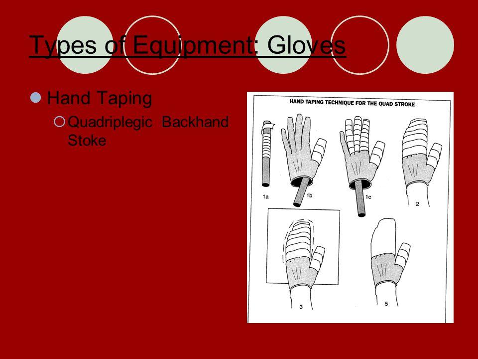Types of Equipment: Gloves Hand Taping  Quadriplegic Backhand Stoke