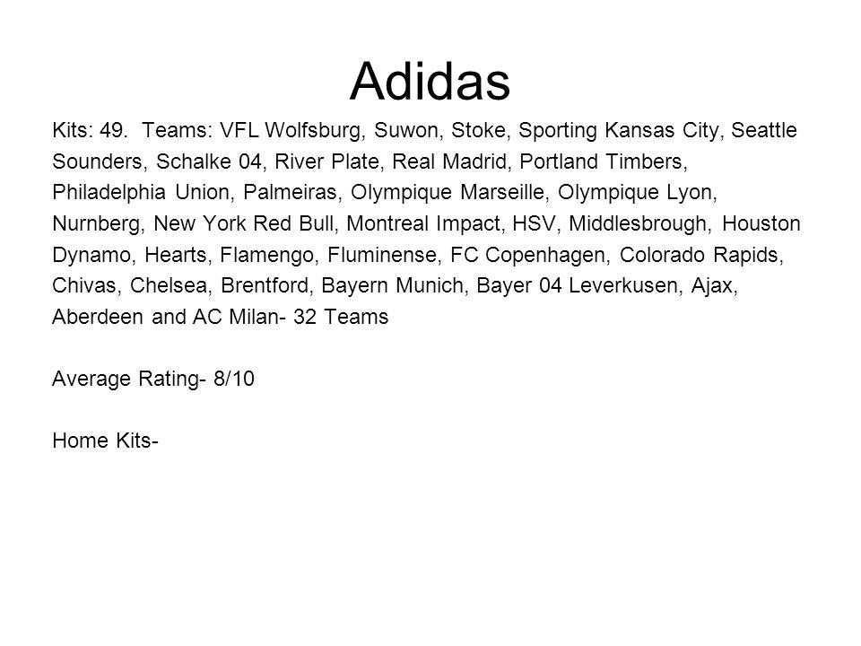 Adidas Kits: 49. Teams: VFL Wolfsburg, Suwon, Stoke, Sporting Kansas City, Seattle Sounders, Schalke 04, River Plate, Real Madrid, Portland Timbers, P