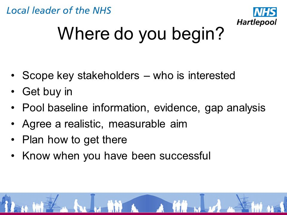 Scope key stakeholders – who is interested Get buy in Pool baseline information, evidence, gap analysis Agree a realistic, measurable aim Plan how to get there Know when you have been successful Where do you begin?