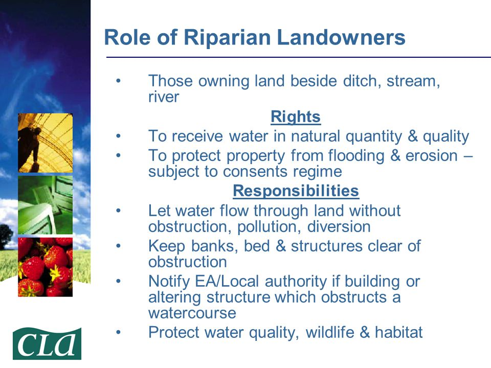 Those owning land beside ditch, stream, river Rights To receive water in natural quantity & quality To protect property from flooding & erosion – subj