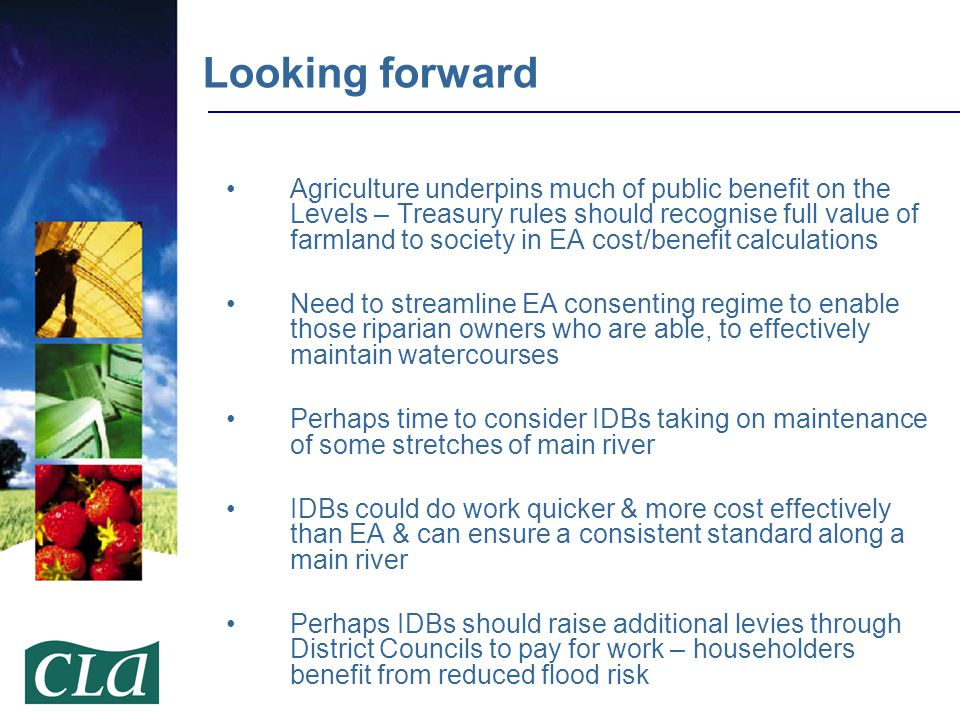 Agriculture underpins much of public benefit on the Levels – Treasury rules should recognise full value of farmland to society in EA cost/benefit calc