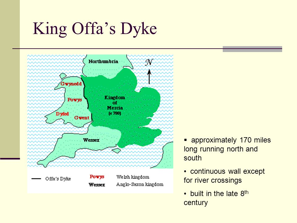King Offa's Dyke  approximately 170 miles long running north and south continuous wall except for river crossings built in the late 8 th century