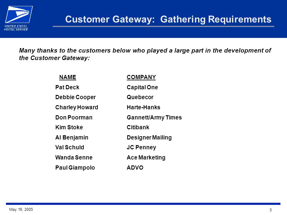 6 May 18, 2005 Customer Gateway Key Features Requirements drove us to the Customer Gateway - a multi-function website created for National & Premier Customers delivering products and services in one single organized location.
