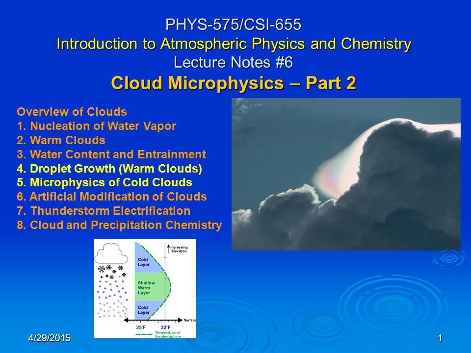 4/29/20151 PHYS-575/CSI-655 Introduction to Atmospheric Physics and Chemistry Lecture Notes #6 Cloud Microphysics – Part 2 Overview of Clouds 1.