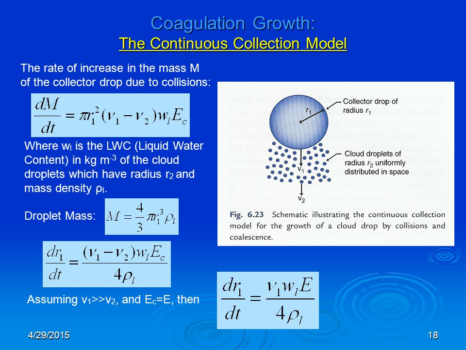 4/29/201518 Coagulation Growth: The Continuous Collection Model The rate of increase in the mass M of the collector drop due to collisions: Where w l is the LWC (Liquid Water Content) in kg m -3 of the cloud droplets which have radius r 2 and mass density ρ l.