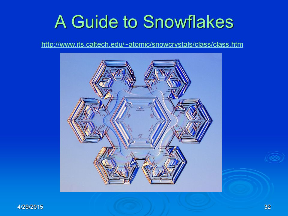 4/29/201532 A Guide to Snowflakes http://www.its.caltech.edu/~atomic/snowcrystals/class/class.htm
