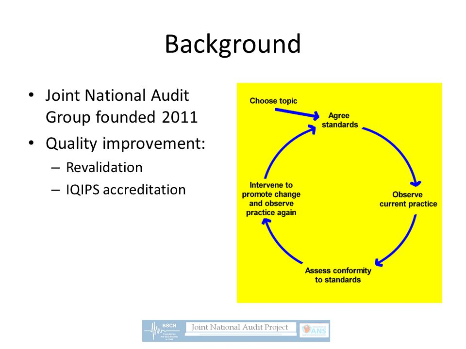 Aims and Purpose of JNAG projects Measure against existing National Standards: Clinical Audit Devise more standards from large UK evidence base : Service Evaluations BSCN/ANS collaboration Disseminate findings: presentations, publications HQIP recognition