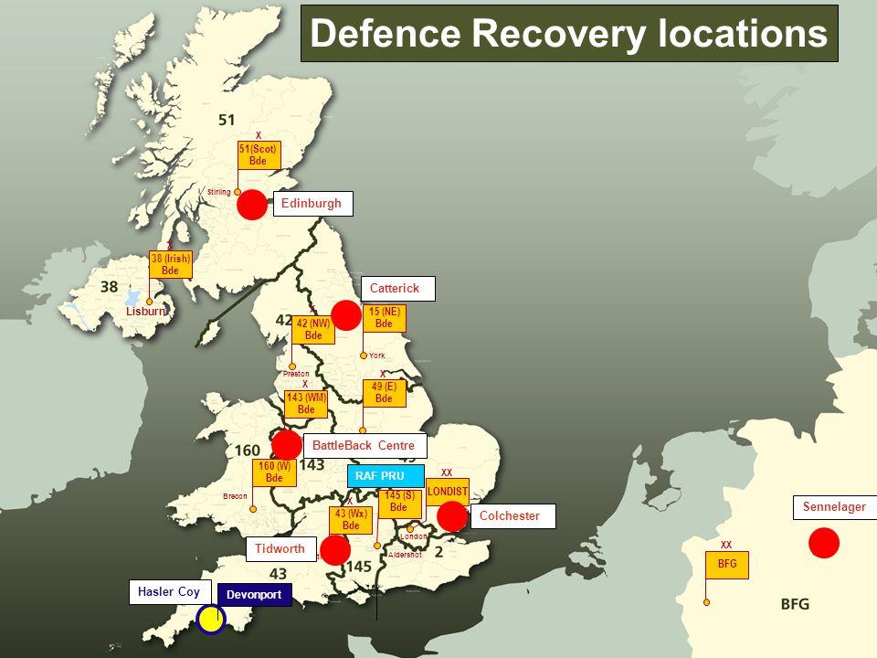 Stirling 51(Scot) Bde X Lisburn 38 (Irish) Bde Preston 42 (NW) Bde X X York 15 (NE) Bde X 49 (E) Bde X Shrewsbury 143 (WM) Bde X Brecon 160 (W) Bde X Aldershot 145 (S) Bde X Tidworth 43 (Wx) Bde X London LONDIST XX BFG XX Devonport Hasler Coy Defence Recovery locations Edinburgh Colchester Sennelager BattleBack Centre Catterick RAF PRU Tidworth