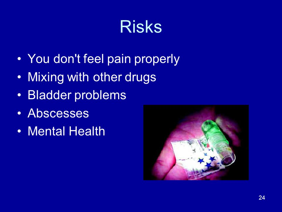 Risks You don t feel pain properly Mixing with other drugs Bladder problems Abscesses Mental Health 24