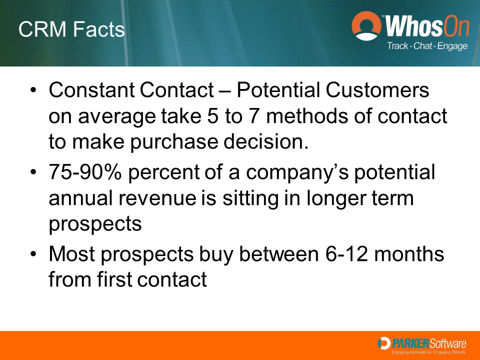 Constant Contact – Potential Customers on average take 5 to 7 methods of contact to make purchase decision. 75-90% percent of a company's potential an