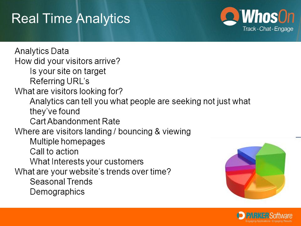 Real Time Analytics Analytics Data How did your visitors arrive? Is your site on target Referring URL's What are visitors looking for? Analytics can t