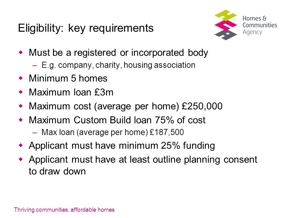 Thriving communities, affordable homes Eligibility: key requirements  Must be a registered or incorporated body –E.g.
