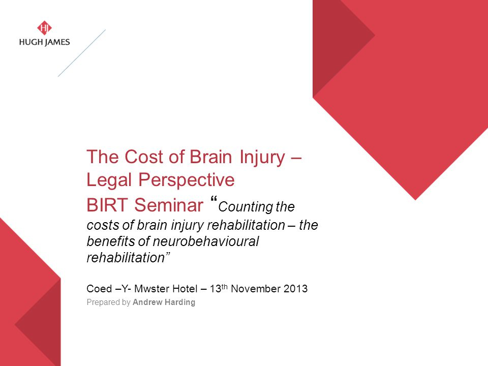 """The Cost of Brain Injury – Legal Perspective BIRT Seminar """" Counting the costs of brain injury rehabilitation – the benefits of neurobehavioural rehab"""