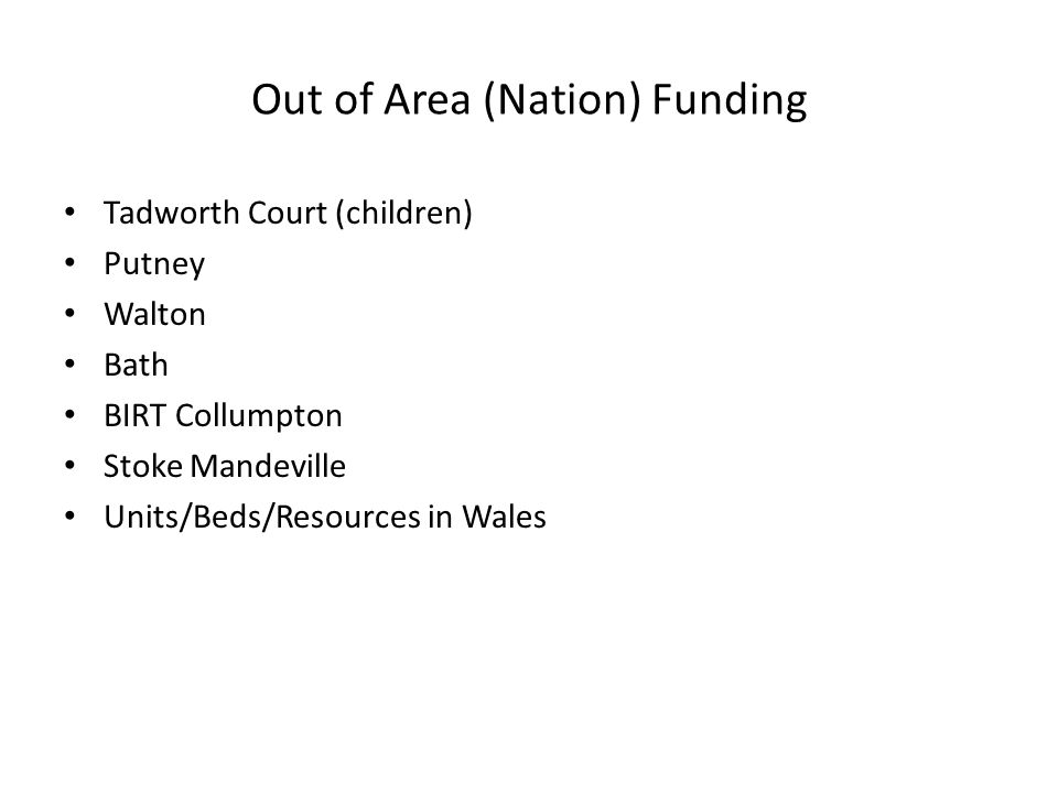 Out of Area (Nation) Funding Tadworth Court (children) Putney Walton Bath BIRT Collumpton Stoke Mandeville Units/Beds/Resources in Wales