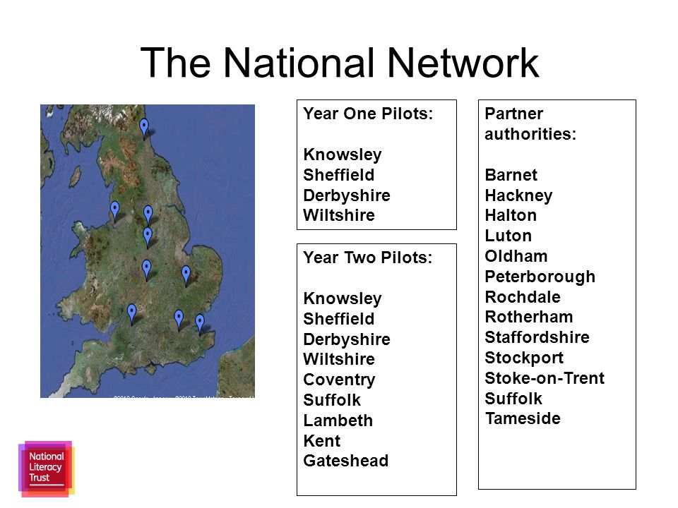 The National Network Year One Pilots: Knowsley Sheffield Derbyshire Wiltshire Year Two Pilots: Knowsley Sheffield Derbyshire Wiltshire Coventry Suffolk Lambeth Kent Gateshead Partner authorities: Barnet Hackney Halton Luton Oldham Peterborough Rochdale Rotherham Staffordshire Stockport Stoke-on-Trent Suffolk Tameside