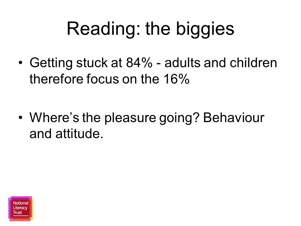 Getting stuck at 84% - adults and children therefore focus on the 16% Where's the pleasure going.