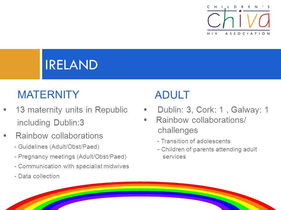  13 maternity units in Republic including Dublin:3  Rainbow collaborations - Guidelines (Adult/Obst/Paed) - Pregnancy meetings (Adult/Obst/Paed) - Communication with specialist midwives - Data collection IRELAND MATERNITY ADULT  Dublin: 3, Cork: 1, Galway: 1  Rainbow collaborations/ challenges - Transition of adolescents - Children of parents attending adult services