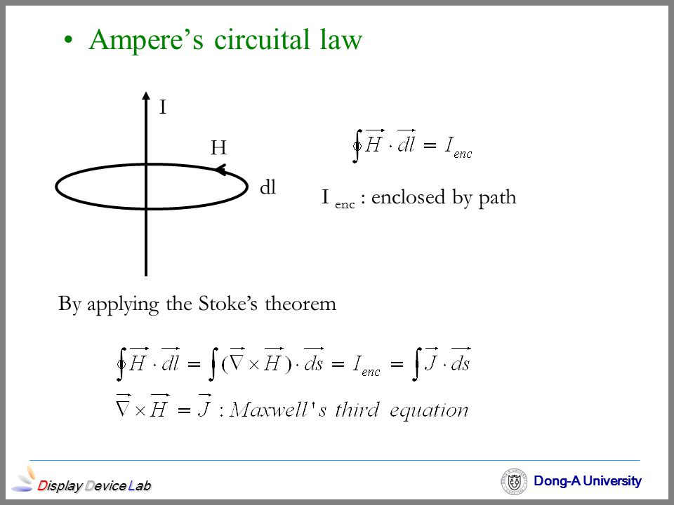 Display Device Lab Dong-A University Ampere's circuital law I H dl I enc : enclosed by path By applying the Stoke's theorem