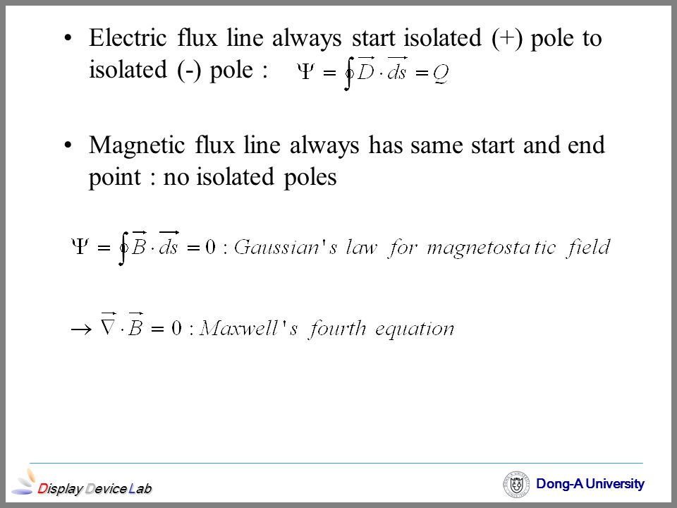 Display Device Lab Dong-A University Electric flux line always start isolated (+) pole to isolated (-) pole : Magnetic flux line always has same start