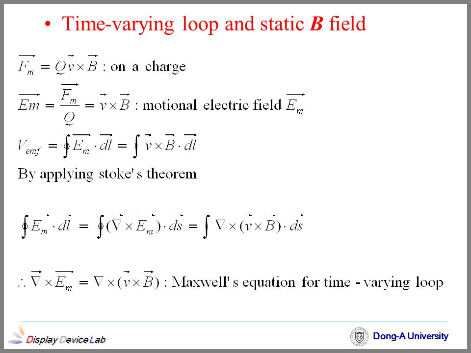 Display Device Lab Dong-A University Time-varying loop and static B field