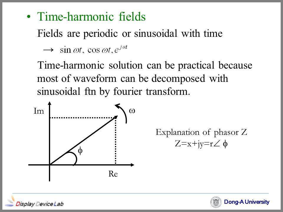 Display Device Lab Dong-A University Time-harmonic fields Fields are periodic or sinusoidal with time → Time-harmonic solution can be practical becaus