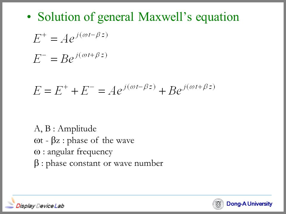 Display Device Lab Dong-A University Solution of general Maxwell's equation A, B : Amplitude  t -  z : phase of the wave  : angular frequency  : p