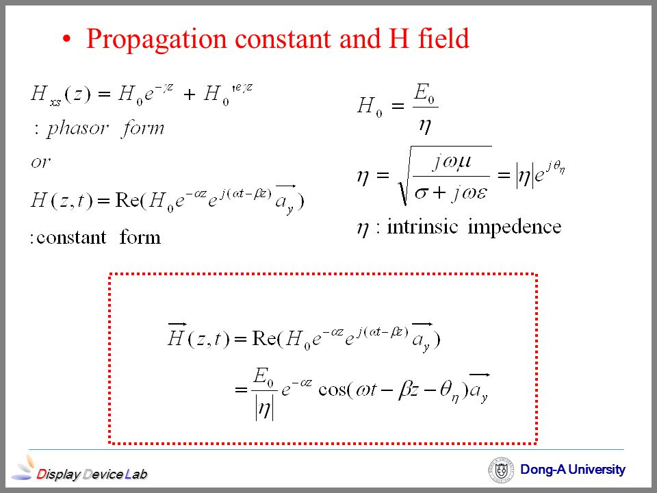 Display Device Lab Dong-A University Propagation constant and H field