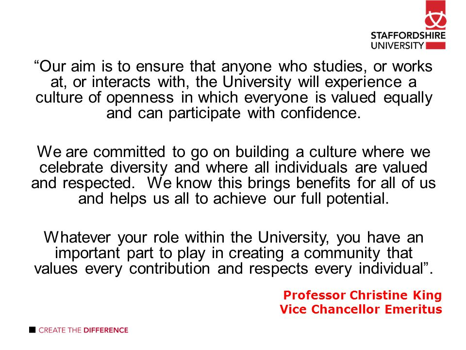 Professor Christine King Vice Chancellor Emeritus Our aim is to ensure that anyone who studies, or works at, or interacts with, the University will experience a culture of openness in which everyone is valued equally and can participate with confidence.
