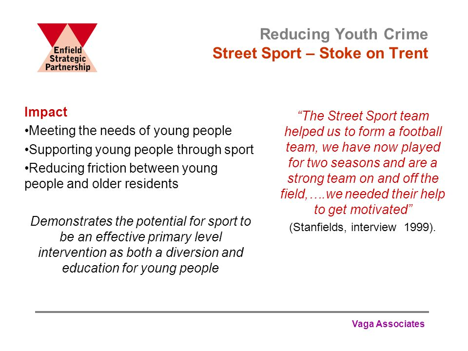 Vaga Associates Reducing Youth Crime Street Sport – Stoke on Trent The Street Sport team helped us to form a football team, we have now played for two seasons and are a strong team on and off the field,….we needed their help to get motivated (Stanfields, interview 1999).