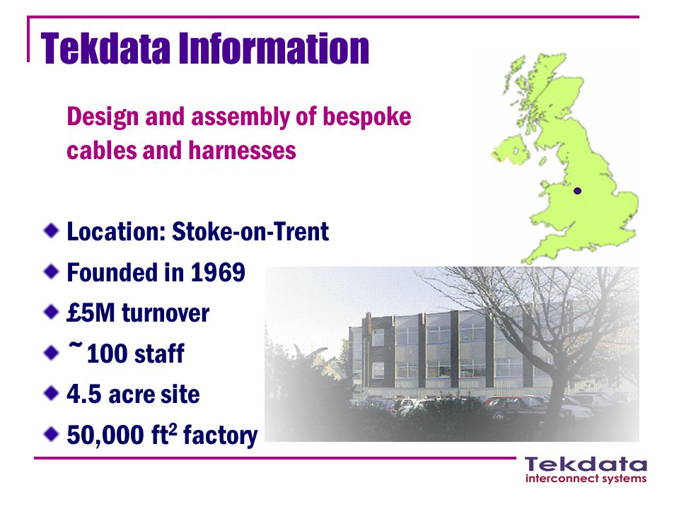Tekdata Information Design and assembly of bespoke cables and harnesses Location: Stoke-on-Trent Founded in 1969 £5M turnover ~100 staff 4.5 acre site