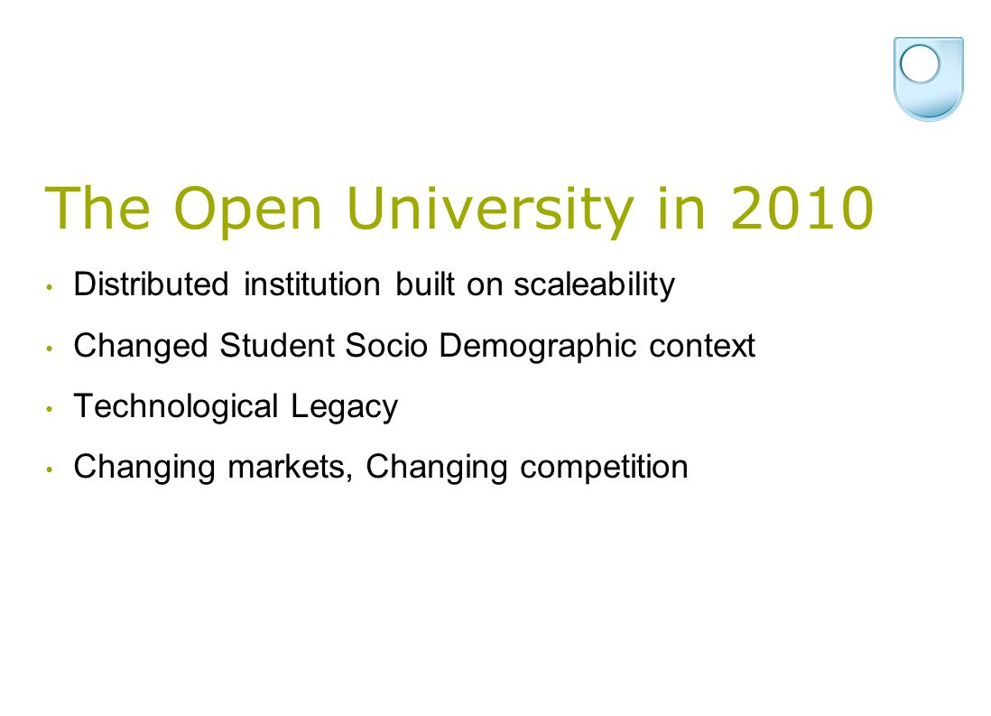 The Open University in 2010 Distributed institution built on scaleability Changed Student Socio Demographic context Technological Legacy Changing markets, Changing competition