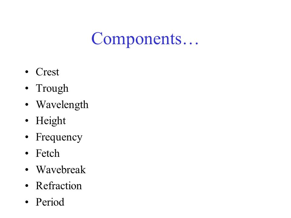 Components… Crest Trough Wavelength Height Frequency Fetch Wavebreak Refraction Period