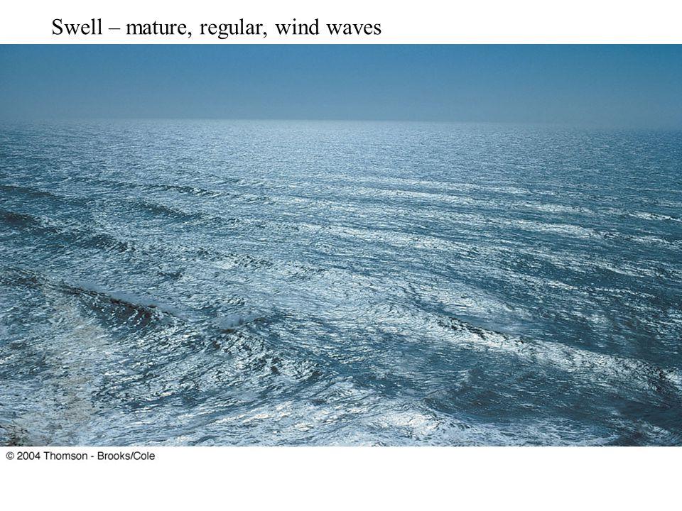 Swell – mature, regular, wind waves