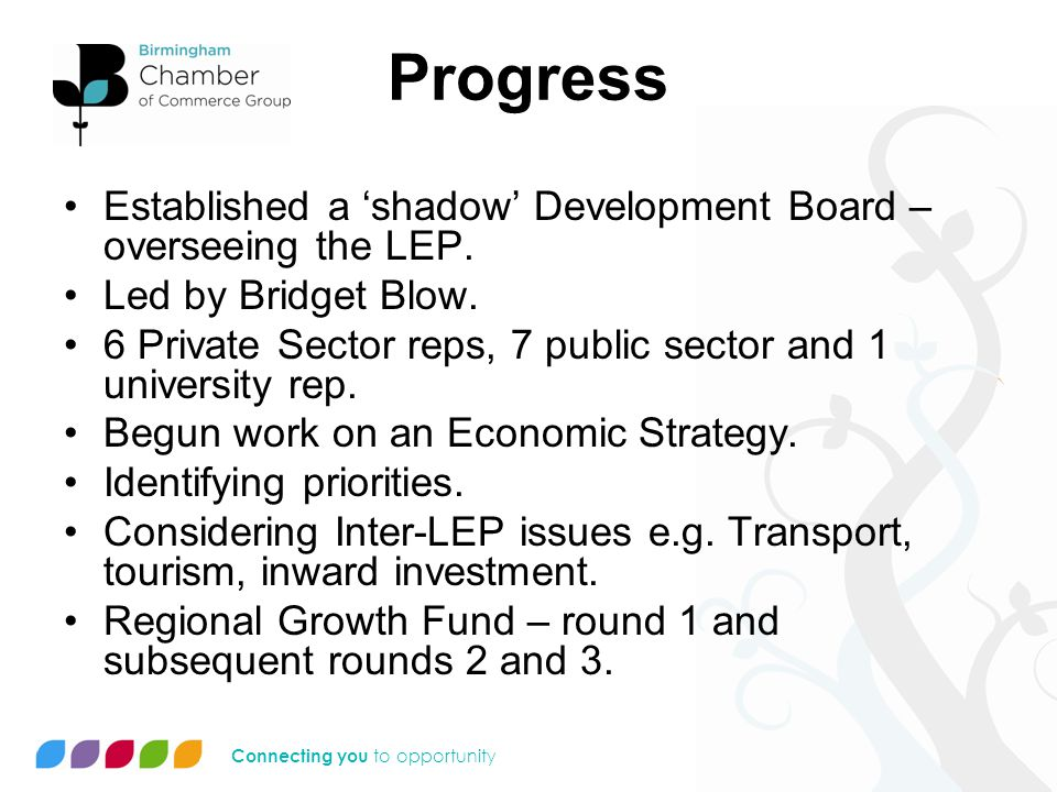 Connecting you to opportunity Progress Established a 'shadow' Development Board – overseeing the LEP.