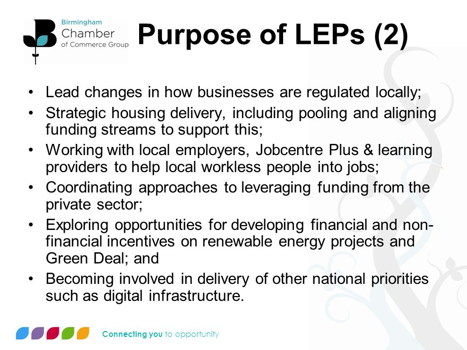 Connecting you to opportunity Greater Birmingham & Solihull LEP Recognition early stage: –Functioning economic geographies.