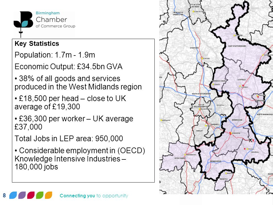 Connecting you to opportunity Key Statistics Population: 1.7m - 1.9m Economic Output: £34.5bn GVA 38% of all goods and services produced in the West Midlands region £18,500 per head – close to UK average of £19,300 £36,300 per worker – UK average £37,000 Total Jobs in LEP area: 950,000 Considerable employment in (OECD) Knowledge Intensive Industries – 180,000 jobs 8