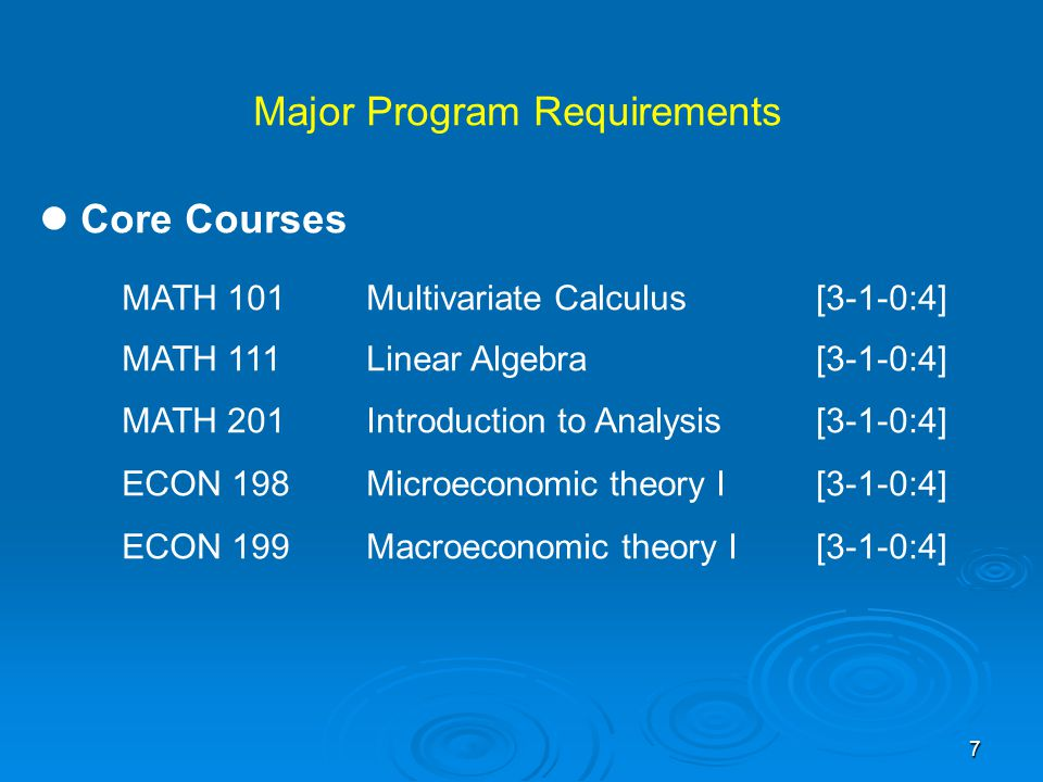 8 Required Courses MATH 241Probability[3-1-0:4] MATH 301Real Analysis[3-1-0:4] ECON 200Microeconomic theory II[3-1-0:4] ECON 201Macroeconomic theory II[3-1-0:4] ECON 233Introduction to Econometrics[3-1-0:4]