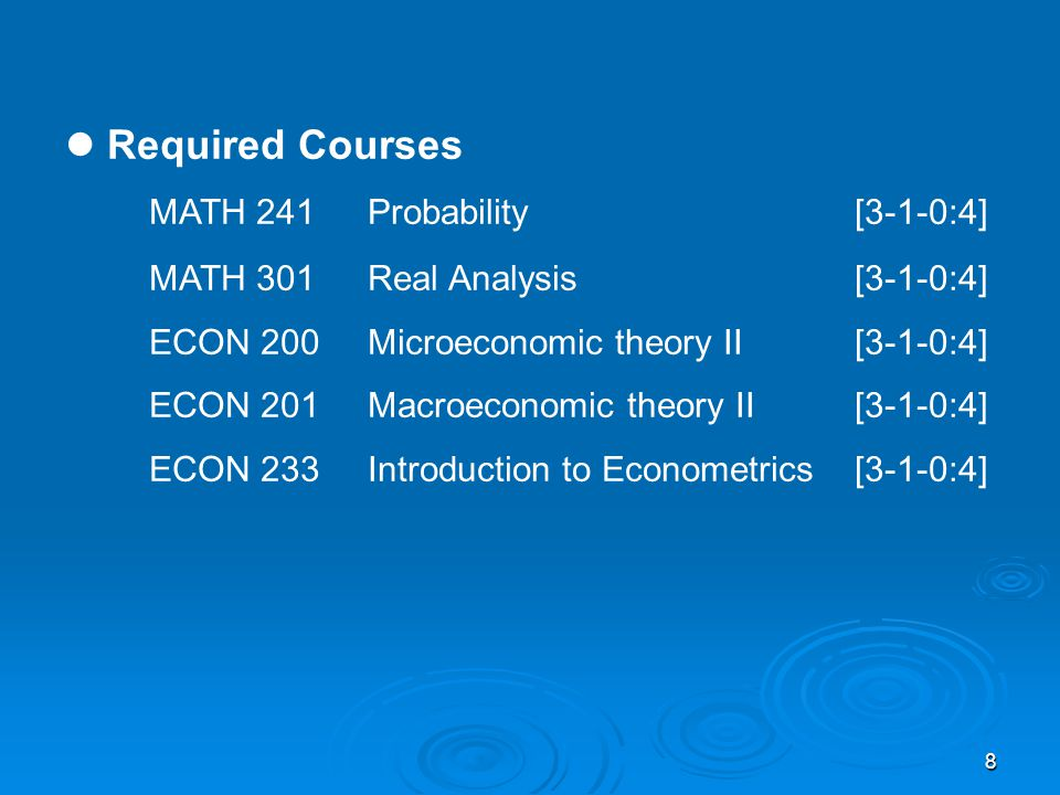 9 Elective Courses Three Mathematics electives are chosen at the 300-level or above.
