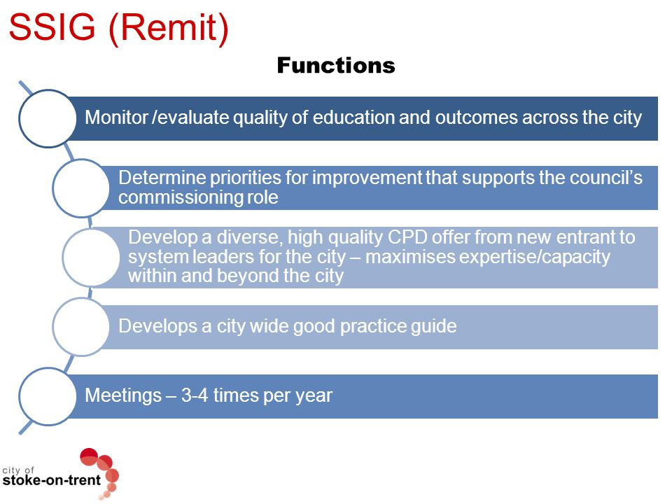 SSIG (Remit) Functions Monitor /evaluate quality of education and outcomes across the city Determine priorities for improvement that supports the coun