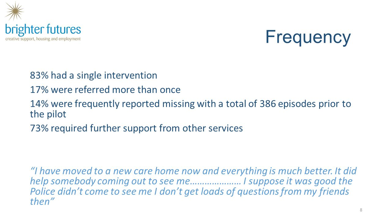 Frequency 83% had a single intervention 17% were referred more than once 14% were frequently reported missing with a total of 386 episodes prior to th