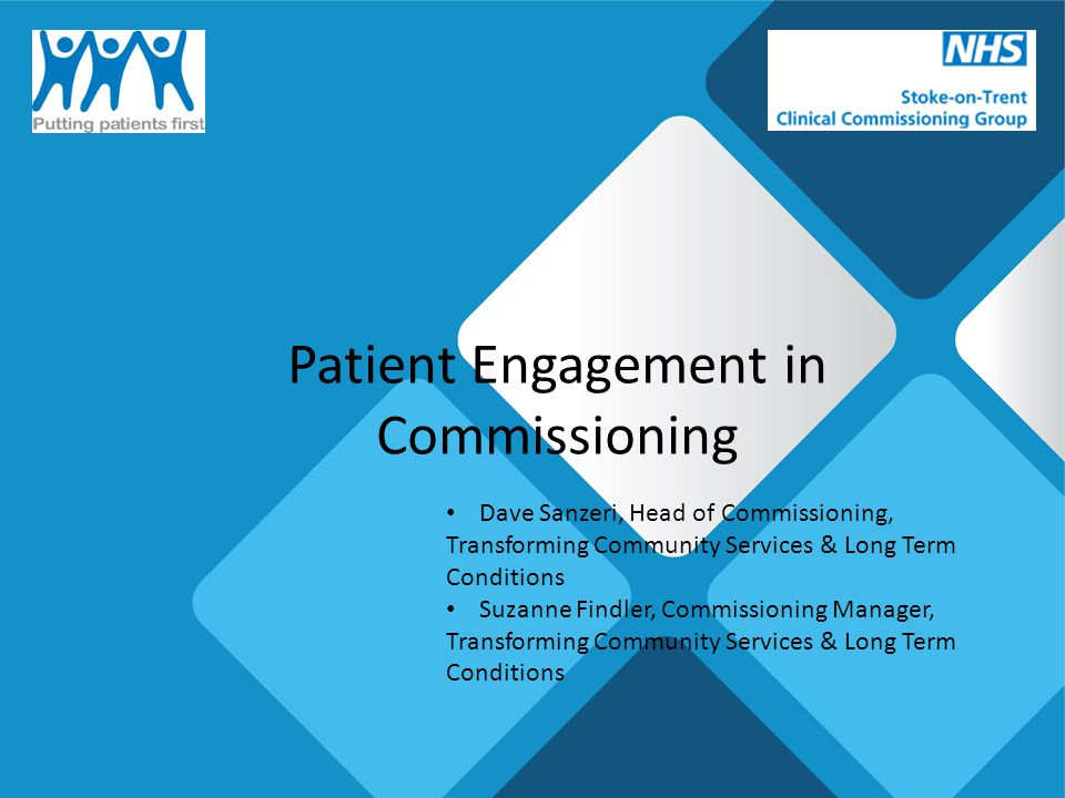 Patient Engagement in Commissioning Dave Sanzeri, Head of Commissioning, Transforming Community Services & Long Term Conditions Suzanne Findler, Commissioning Manager, Transforming Community Services & Long Term Conditions