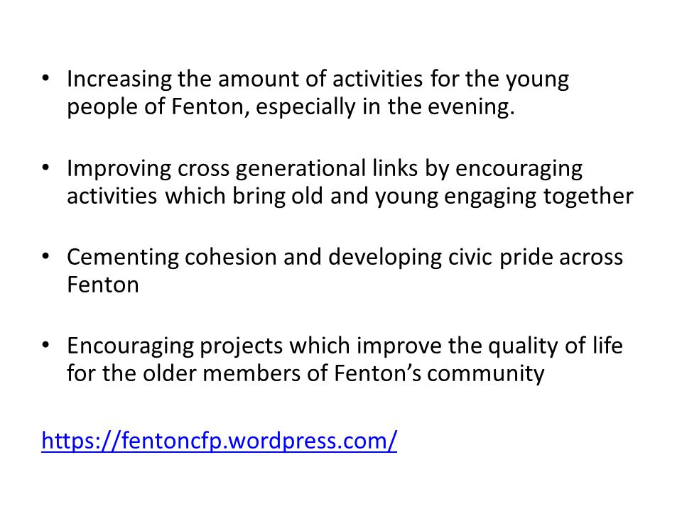 Increasing the amount of activities for the young people of Fenton, especially in the evening.