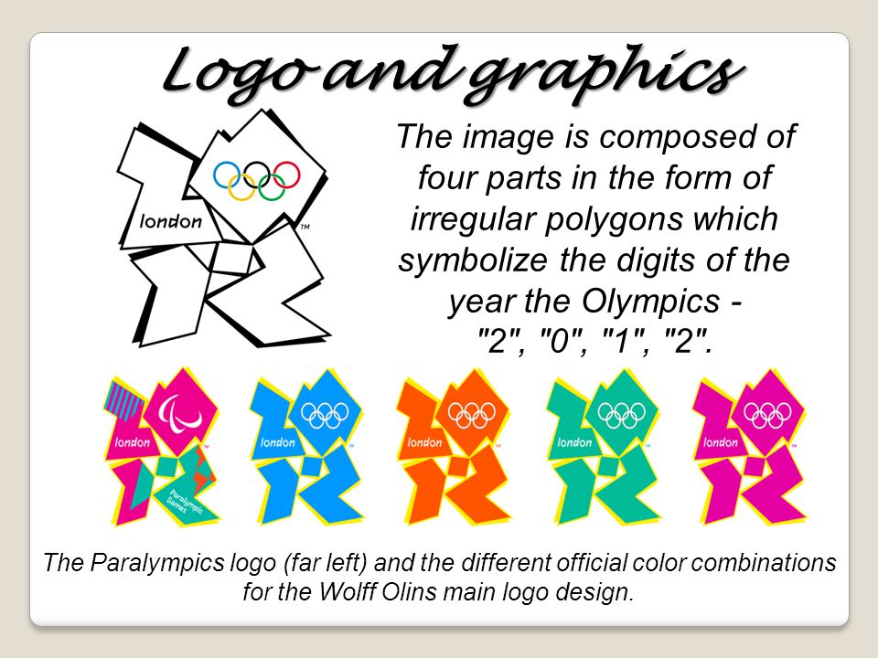 Logo and graphics The image is composed of four parts in the form of irregular polygons which symbolize the digits of the year the Olympics - 2 , 0 , 1 , 2 .