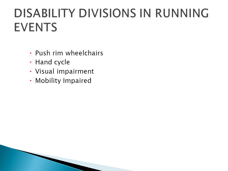  Push rim wheelchairs  Hand cycle  Visual impairment  Mobility Impaired
