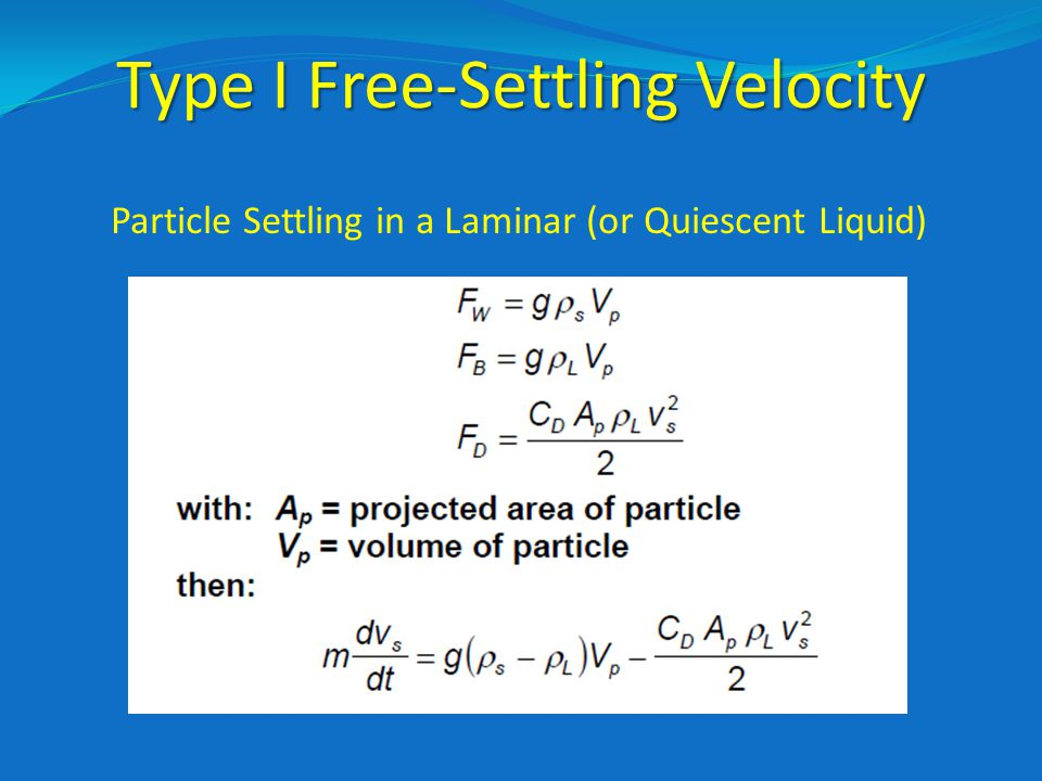 Type I Free-Settling Velocity Particle Settling in a Laminar (or Quiescent Liquid)